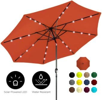 Best Choice Products Solar LED Lighted Patio Umbrella