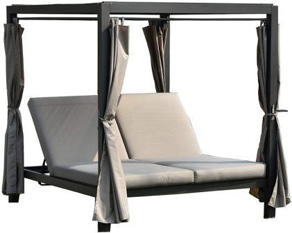 Direct Wicker Outdoor Steel Frame Adjustable Sunbed with Canopy