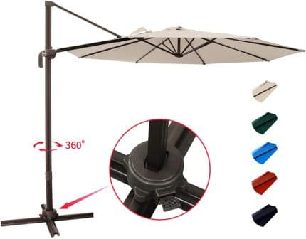 KITADIN Patio Hanging Cantilever Umbrella