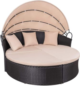 KaiMeng Patio Furniture Outdoor Round Sofa Daybed