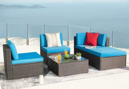 KaiMeng Patio Outdoor Furniture Sets 5 Pieces All Weather Rattan Sectional Sofa