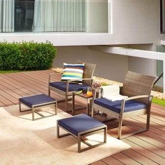 LOKATSE HOME 5-Piece Wicker Outdoor Conversation Set Patio Furniture