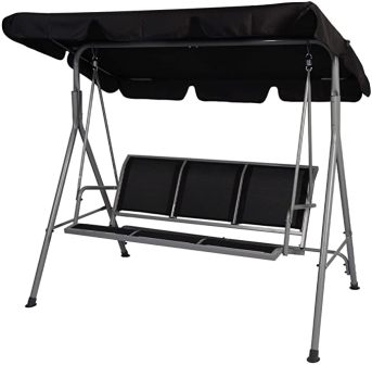 LUCKYERMORE 3-Seat Outdoor Patio Swing with Adjustable Shade