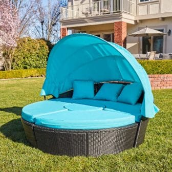 M&W Patio Daybed with Retractable Canopy