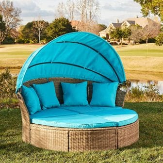 M&W Patio Furniture Outdoor Daybed with Retractable Canopy