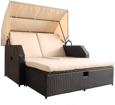Myuilor Latest Patio Outdoor Daybed with Retractable Canopy