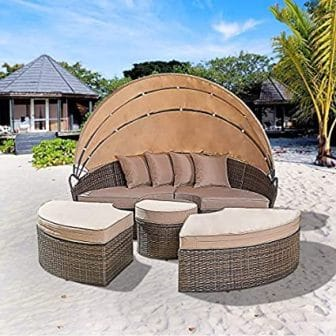 Oakmont Patio Furniture Outdoor Daybed Round Sofas with Canopy