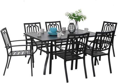 PHI VILLA 7-piece Outdoor Patio Dining Set