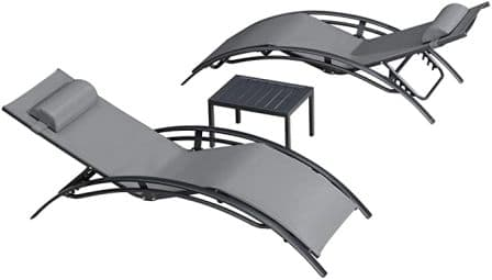 PURPLE LEAF Patio Chaise Lounge Sets 3 Pieces Outdoor Lounge Chair