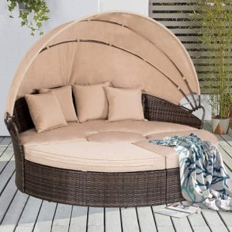 Patiomore Outdoor Patio Round Daybed with Retractable Canopy