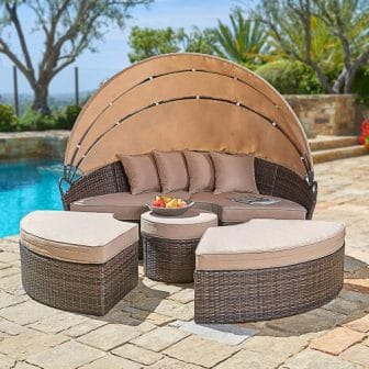 SUNCROWN Outdoor Patio Daybed with Retractable Canopy