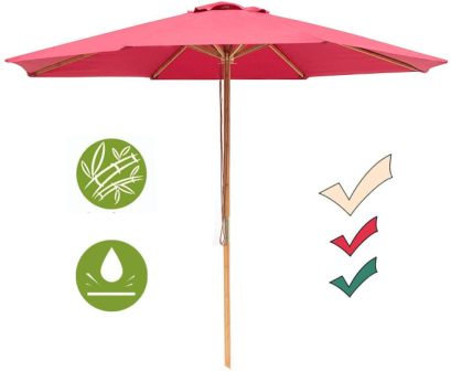 SUNNYARD Bamboo Market Patio Umbrella