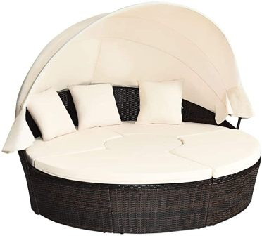 Tangkula Patio Daybed with Retractable Canopy