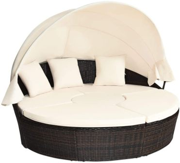 Tangkula Patio Round Daybed with Retractable Canopy