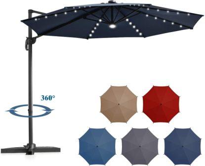 Tangkula Solar LED Patio Cantilever Umbrella