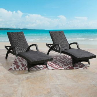 Ulax Furniture Outdoor Woven Aluminum Chaise