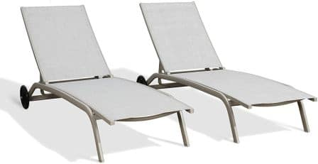 Ulax Furniture Patio Outdoor Aluminum Chaise Lounge Chair