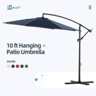 WUFF Bluu Patio Offset Umbrella with Crank & Cross Base