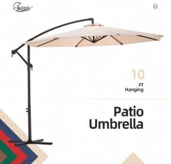 wikiwiki Offset Cantilever Patio Umbrella