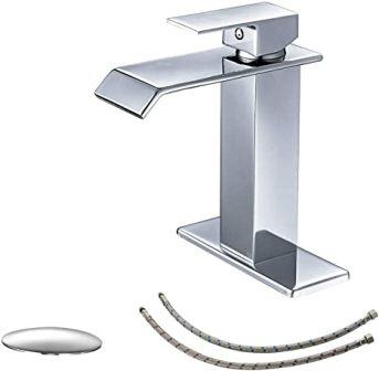 BWE Chrome Waterfall Bathroom Sink Faucet
