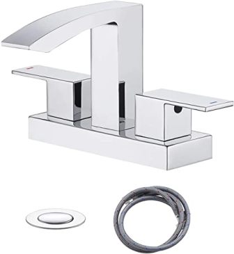 KES CUPC NSF-Certified Two-Handle Polished Chrome Bathroom Waterfall Faucet