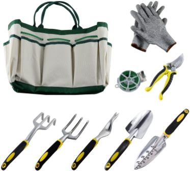 9Pcs Garden Tool Sets-a Plant Rope, Soft Gloves,6 Ergonomic Gardening Tools and a Garden Tote