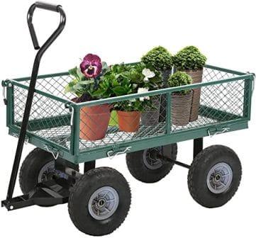 BestMassage Garden Cart Wheelbarrow Dump Wagon Utility Lawn Yard Cart Heavy Duty Steel