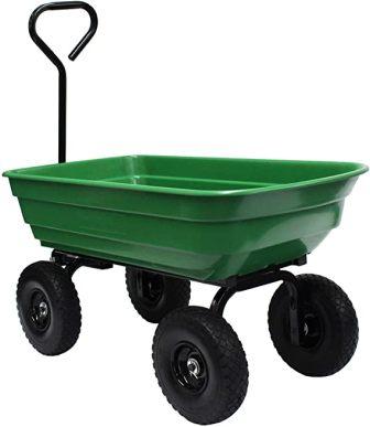 Garden Star 70275 Garden Wagon/Yard Cart with Flat Free Tires, 37″ x 20″ Poly Tray