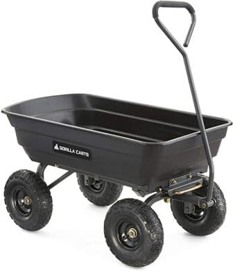 Gorilla Carts GOR4PS Poly Garden Dump Cart with Steel Frame and 10-in. Pneumatic Tires,