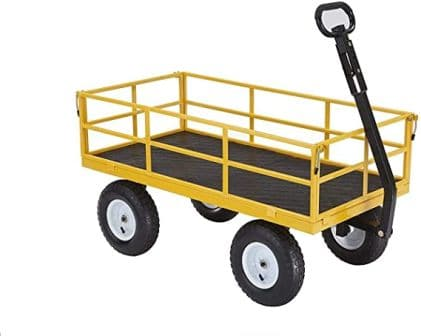 Gorilla Carts Heavy-Duty Steel Utility Cart with Removable Sides and 13″ Tires,Yellow