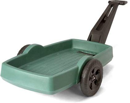 Simplay3 Easy Haul Plastic Flat Bed Yard and Garden Wagon, Heavy Duty 200 lbs. Capacity – Green