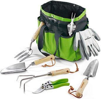 TACKLIFE Garden Tools Set, 7 Piece Stainless Steel Heavy Duty Gardening kit