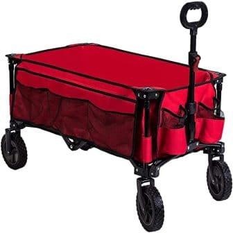 Timber Ridge Folding Camping Wagon, Garden Cart, Collapsible, Red